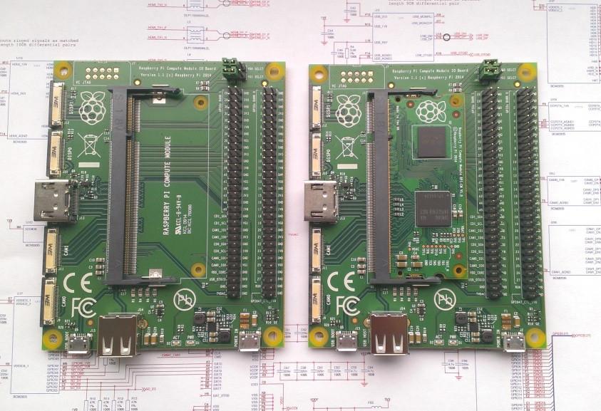 Računalniški modul Raspberry Pi in vhodnoizhodna plošča