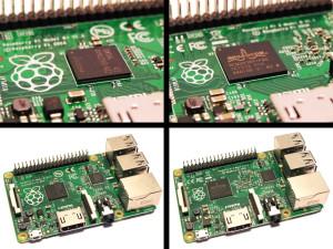 Na levi strani fotografije se nahaja predhodnik nove različice Raspberry Pi Model B+, na desni pa pred kratkim izdan Raspberry Pi 2 Model B.
