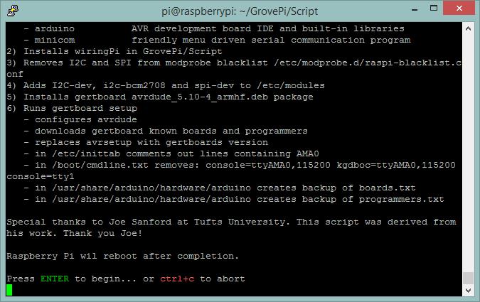 Zagon skripte za namestitev GrovePi+